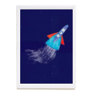 【摩達客】西班牙插畫家Judy Kaufmann海報掛畫-火箭 (附簽名)(含木框)