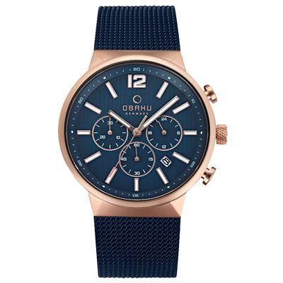 OBAKU 分秒必爭三眼時尚腕錶-V180GCVLML/42mm