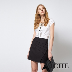 ICHE 衣哲 簡約時尚打褶拼接造型百搭上衣
