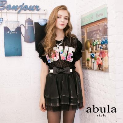 abula-style-LOVE印花釘珠蕾絲短袖上