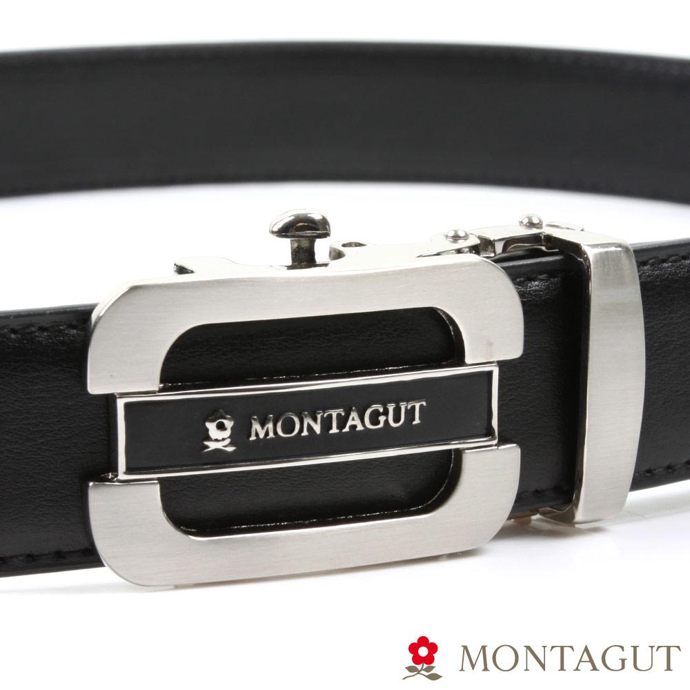 MONTAGUT夢特嬌-經典圓角簍空黑Logo款-二層牛皮自動扣皮帶-754