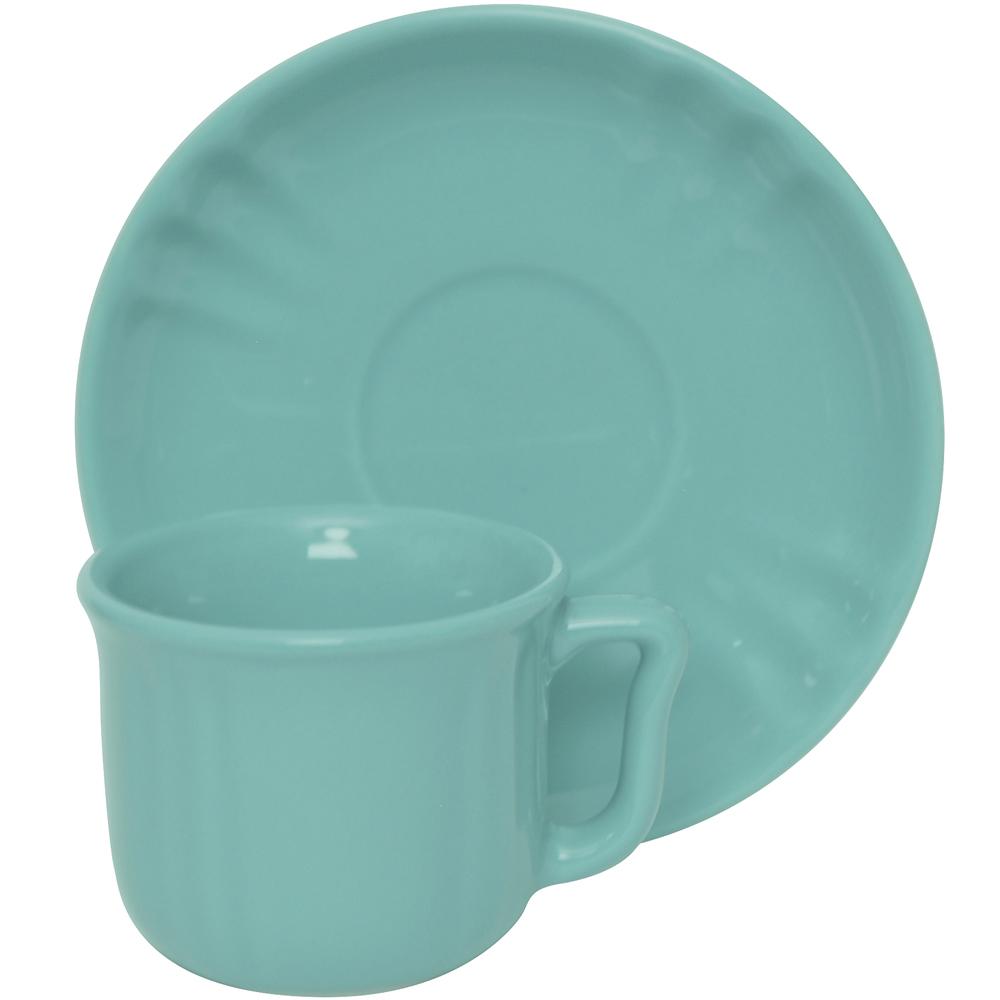 EXCELSA Chic陶製咖啡杯碟組(荷綠90ml)