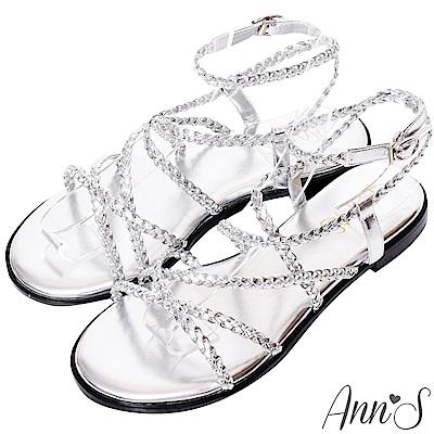 Ann'S層次單品-編織交錯細帶寬版平底涼鞋-銀