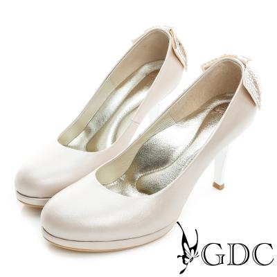 GDC-羊皮後蝴蝶結水鑽圓頭真皮高跟鞋(婚鞋)-卡其色