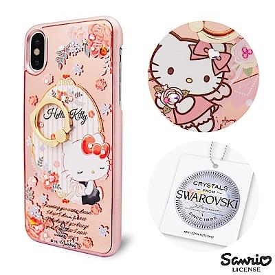 三麗鷗 Kitty iPhoneX 施華彩鑽鏡面指環扣手機殼-玫瑰凱蒂