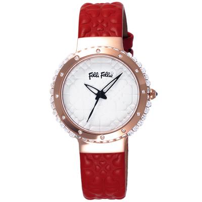 Folli Follie 海洋風情晶鑽時尚腕錶-玫瑰金框白x紅色皮帶/38mm