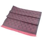 GUCCI 桃紅/灰色 G LOGO雙色寬版羊毛圍巾