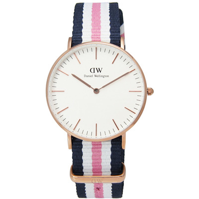 DW Daniel Wellington 經典學院風尼龍腕錶-藍x白x粉/36mm