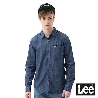 Lee 休閒彩色點狀長袖襯衫-男款-藍