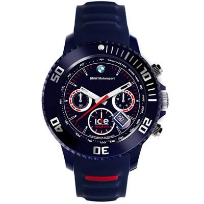 Ice-Watch BMW運動系列 摩登潮流計時手錶-藍x紅/53mm