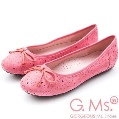G.Ms.  戀彩鏤空愛心蝴蝶結豆豆鞋-甜蜜玫粉