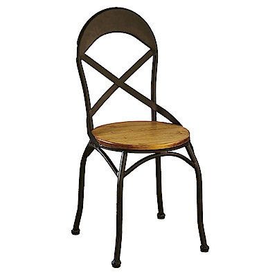AT HOME-工業風胡桃實木設計鐵藝餐椅(40*41*92cm)馬卡