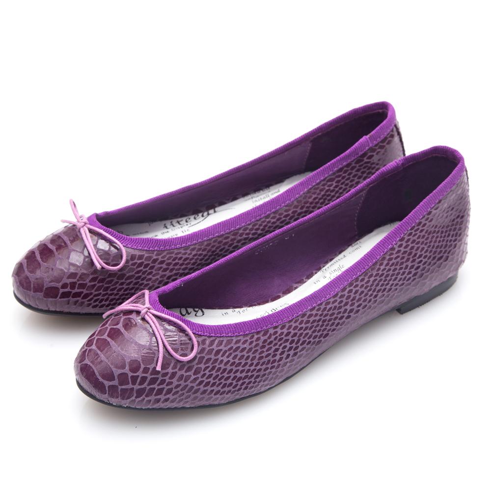 G.Ms. 蛇紋羊皮蝴蝶結芭蕾娃娃平底鞋-深紫