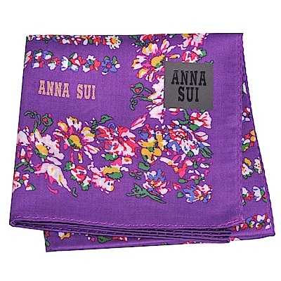 ANNA SUI 繽紛幾何花朵字母圖騰金色LOGO帕領巾(紫色底)