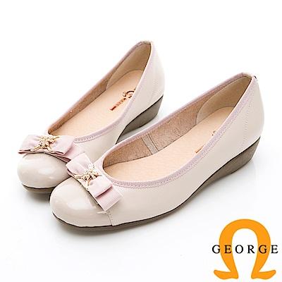 GEORGE 喬治-輕量系列 雙色蝴蝶結淑女鞋-粉