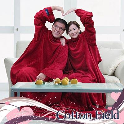 棉花田-樂邁-超細纖維創意雙人袖毯-紅色-280x180cm