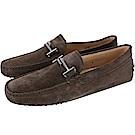 TOD'S Double T 金屬設計麂皮休閒豆豆鞋(男鞋/深咖色)