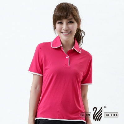 【遊遍天下】MIT台灣製女款吸濕排汗抗UV機能POLO衫S045玫紅