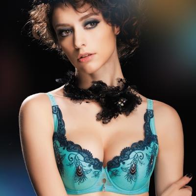 思薇爾 PAN'S BRA羽霓之舞系列D-F罩性感內衣(天使藍)