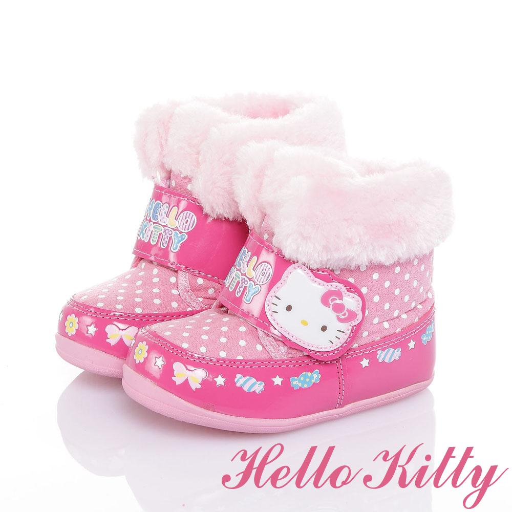 HelloKitty 保暖抗菌防臭雪靴童鞋-桃