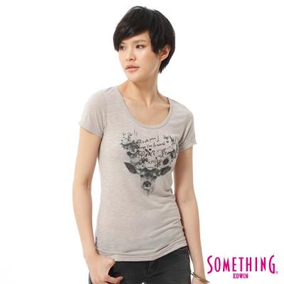 SOMETHING-鹿頭花卉印花T恤-女-灰褐色