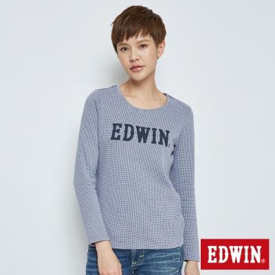 EDWIN 經典千鳥紋長袖T恤-女-灰藍