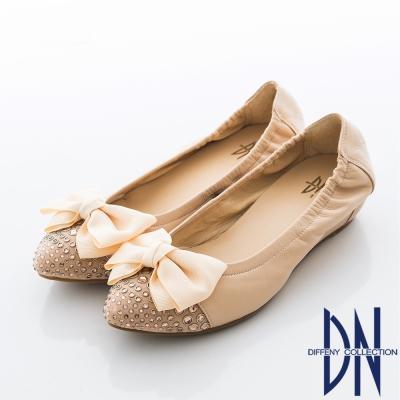 DN 法式玩美 實穿百搭點鑽蝴蝶內增高包鞋 粉