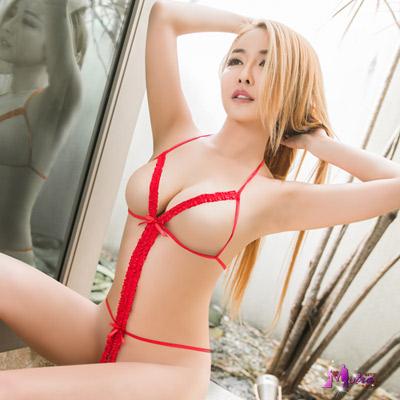 情趣睡衣 大紅織帶線條連身衣 Moira