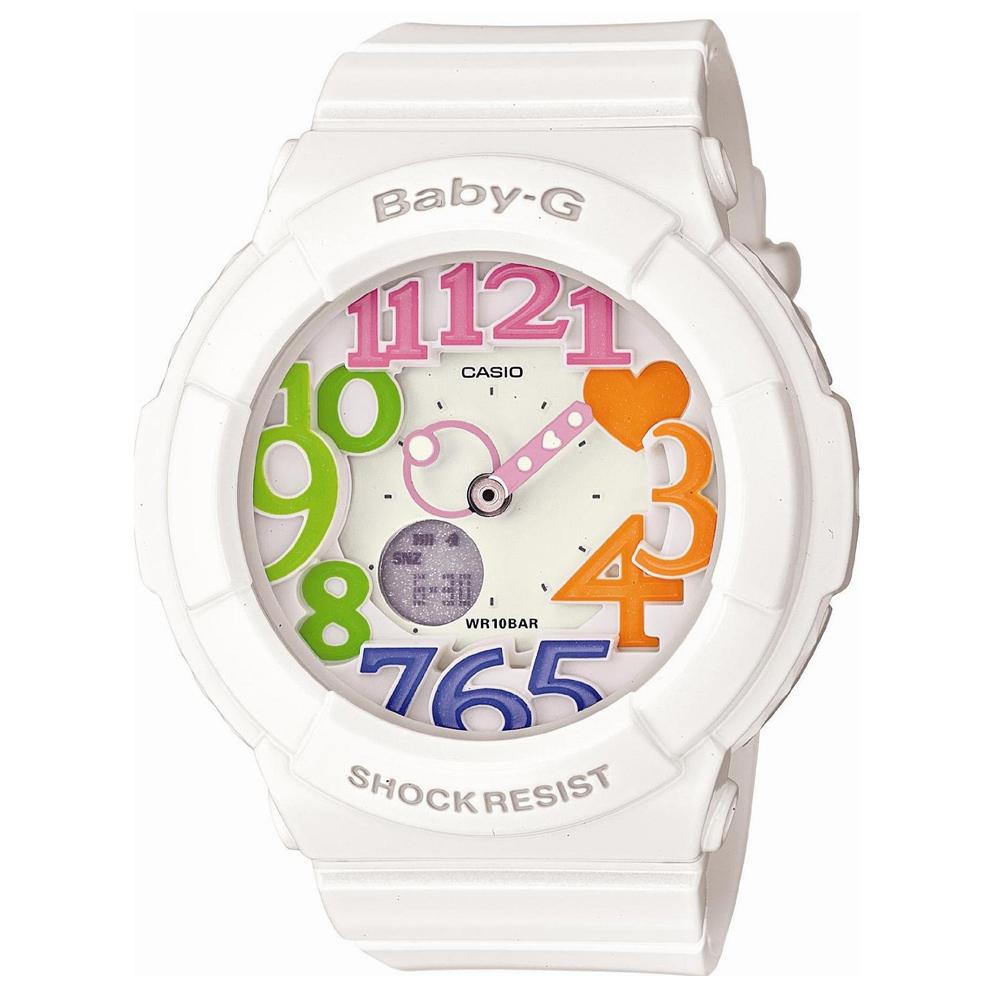 BABY-G 繽紛立體時刻霓虹照明休閒錶(BGA-131-7B3)-白x彩時刻/43.4mm