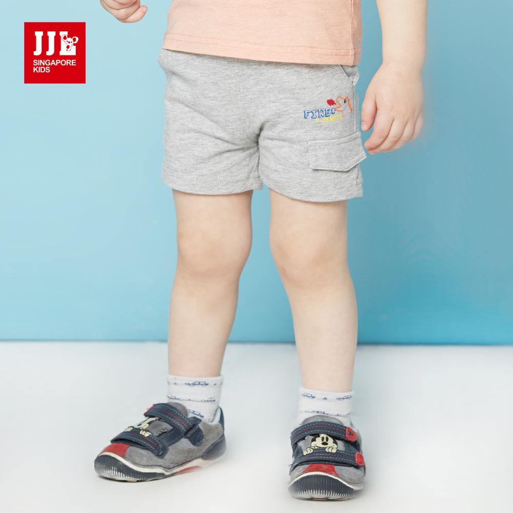 JJLKIDS 噴火小恐龍純棉短褲(麻灰)