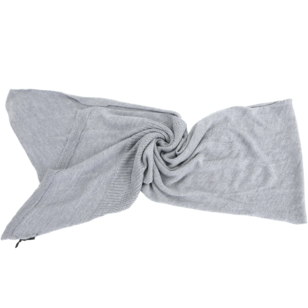 PINKO 灰色織紋拼接羊毛圍巾(50%WOOL)