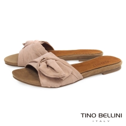 Tino Bellini 浪漫扭結平底涼拖鞋 _粉膚