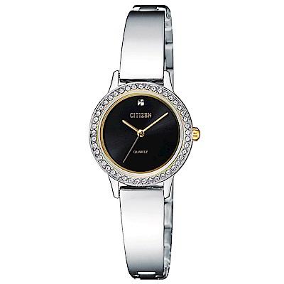 CITIZEN星辰  璀璨絕美名媛氣質風石英女錶 (EJ6134-50E)-黑色/23mm