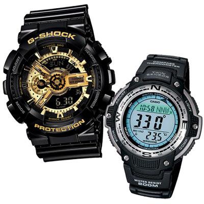 G-SHOCK 狂派變形金剛黑金重型休閒錶+雄霸南北先鋒運動休閒錶