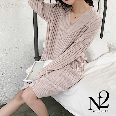 連衣裙 V領復古寬版長袖針織連衣裙(粉) N2