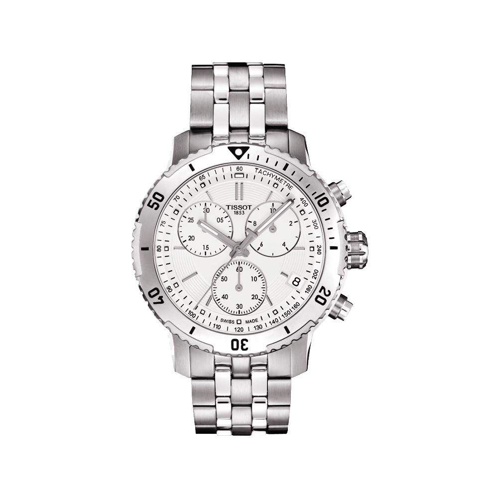 TISSOT 天梭 PRS 200系列三眼計時腕錶-白/42mm @ Y!購物