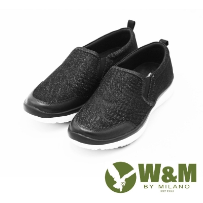 W&M MODARE系列 拼色異材質直套式休閒鞋 女鞋-黑