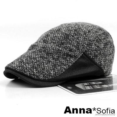 AnnaSofia-染續點絨革簷-毛料鴨舌帽小偷帽-黑系