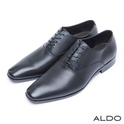 ALDO-真皮原色U字綁帶式男性牛津鞋-壓紋墨黑