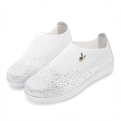 PLAYBOY舒適亮眼 針織襪套式休閒便鞋-白