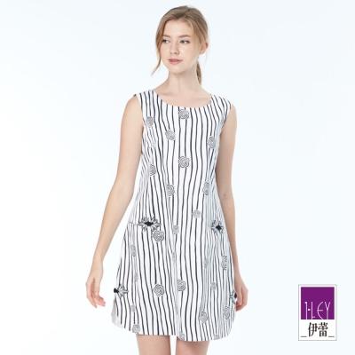 ILEY伊蕾 典雅條紋印花無袖洋裝(白)