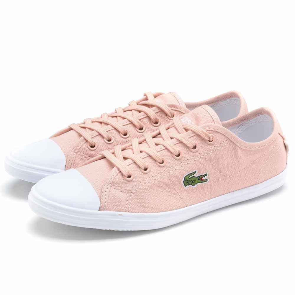 Lacoste ZIANE 女用休閒帆布鞋-粉橘色