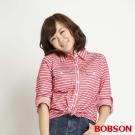 BOBSON 女款條紋長袖襯衫(紅條13)
