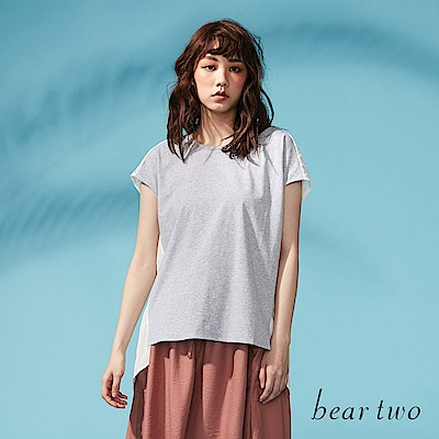 beartwo 網路獨家-後背開衩蕾絲拼接長版上衣(二色)
