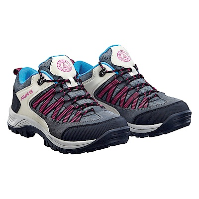 【ATUNAS 歐都納】女款透氣耐磨低筒登山健行鞋GC-1613灰/粉紅