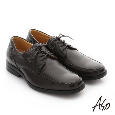 A.S.O 頂級氣墊 綿羊皮奈米綁帶紳士皮鞋 咖啡色