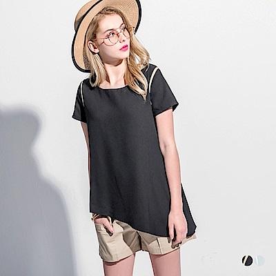 肩袖配色斜襬造型圓領短袖寬鬆上衣.2色-OB嚴選