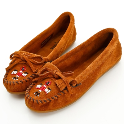 MINNETONKA 咖啡色麂皮串珠小雷鳥莫卡辛 女鞋 (展示品)