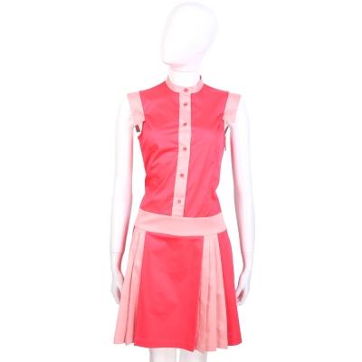 LOVE MOSCHINO 粉桃色雙色緞面無袖洋裝