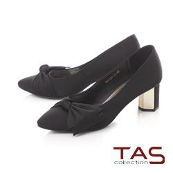 TAS素面蝴蝶結金屬高跟鞋-典雅黑